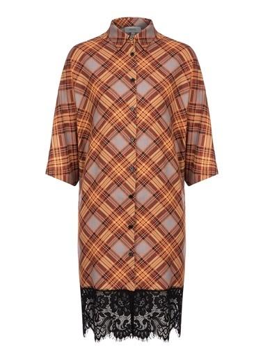 Eteği Dantelli Gömlek Elbise-Ipekyol